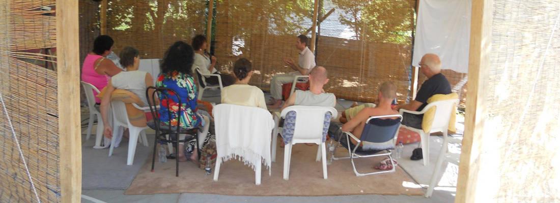 Workshop leader leads group