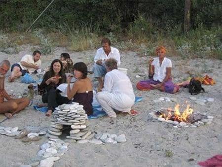 Volunteer staff beach picnic